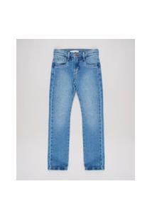 Calça Jeans Infantil Skinny Em Moletom Com Bolsos Azul Médio