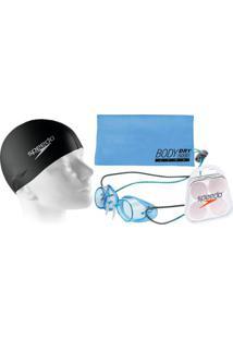e4f14cc13 Kit Natação Com Óculos Speedo Speed + Toalha + Protetor + Touca - Unissex