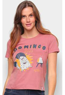 Camiseta T-Shirt Cantão Babylook Domingo Feminina - Feminino-Vermelho Escuro