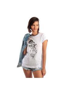 Camiseta Feminina Mirat Hand Rose Branco