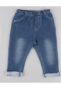 Calça Jeans Infantil Em Moletom Azul Médio