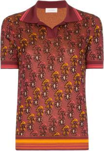 Wales Bonner Camisa Polo Com Estampa Floral - Vermelho