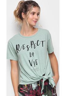 Camiseta Colcci Respect La Vie Feminina - Feminino-Verde