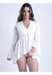 Robe Yasmin Lingerie Curto Lamour Feminino - Feminino-Branco
