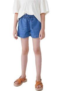 Shorts Jeans Infantil Menina Com Bolsos Hering Kid