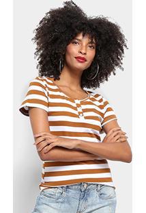 Camiseta Top Modas Listrada Botões Feminina - Feminino