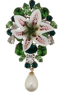 Dolce & Gabbana Broche Com Aplicações Florais - Verde