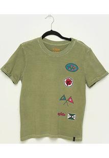 Camiseta T-Shirt Cantão Slim Patches Feminina - Feminino