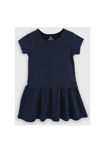 Vestido Hering Kids Infantil Liso Azul-Marinho