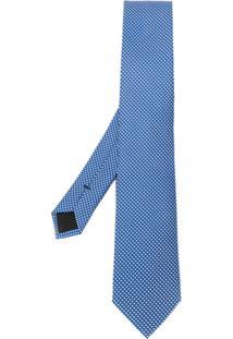 Boss Gravata De Jacquard Com Padronagem - Azul
