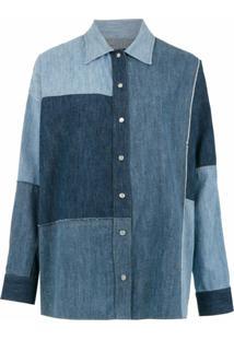 Dolce & Gabbana Camisa Jeans Com Recortes - Azul