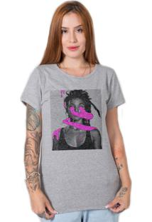 Camiseta Stoned Pink Art Cinza