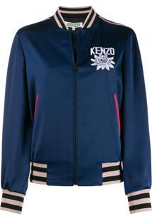 Kenzo Jaqueta Bomber Com Detalhe Bordado - Azul
