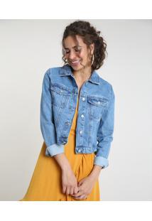 Jaqueta Jeans Feminina Cropped Com Bolsos Azul Médio