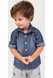 Camisa Jeans Bebê Menino Com Bordado Hering Kids