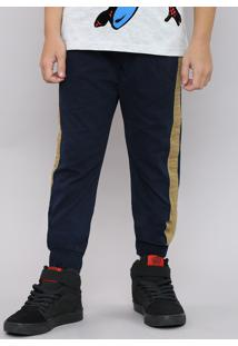 Calça De Sarja Infantil Jogger Com Faixa Lateral Estampada Camuflada Azul Marinho