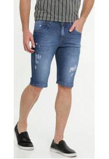 Bermuda Masculina Jeans Puídos Razon