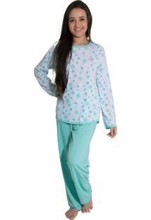 Pijama Linha Noite Longo Verde Piscina