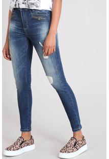 Calça Jeans Feminina Sawary Skinny Destroyed Azul Escuro