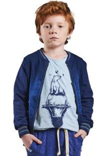 Jaqueta Infantil Bugbee Moletom Jeans Masculina - Masculino-Azul