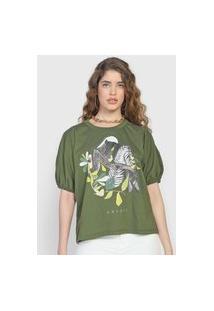 Camiseta Colcci Mangas Bufantes Verde