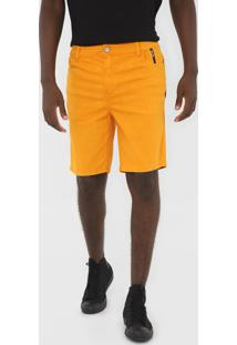 Bermuda Sarja 2Nd Floor Reta Logo Amarela - Amarelo - Masculino - Algodã£O - Dafiti