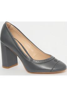 Sapato Em Couro Com Microfuros- Cinza Escuro- Salto:Capodarte