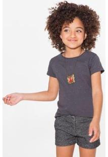 Camiseta Infantil Gliter Reserva Mini Feminina - Feminino-Preto