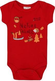 Body Bebê Manga Curta Suedine Friends Up Baby Masculino - Masculino-Vermelho