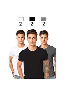 Kit 6 Camiseta Masculina Algodáo Básica Camisa Atacado Lisa Gola Redonda Para Uniforme Escolar Cinza