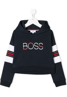Boss Kids Moletom Com Logo - Azul