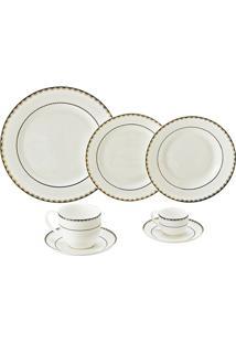 Jogo De Jantar De Porcelana 42 Peças Alto Relevo - Unissex-Branco