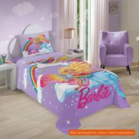 f0f83cc3f7 Jogo De Cama Infantil Com 3 Peças Barbie Reinos Mágicos Algodão Lilás