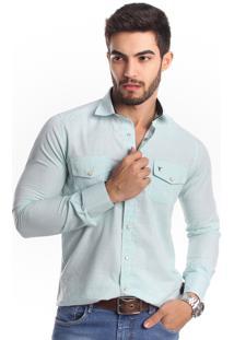 Camisa Tony Menswear Slim Com Botão De Pressão Verde