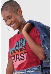 Camiseta Cantã£O Art Comes First Vermelha - Vermelho - Feminino - Algodã£O - Dafiti