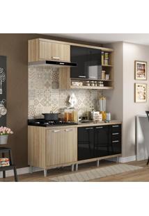 Cozinha Compacta Sicília 7 Portas Com Balcão Sem Pia Preto/Argila - Multimóveis