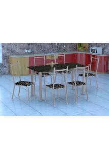 Conjunto De Mesa Granada Com 6 Cadeiras Lisboa Branco Prata E Preto Floral
