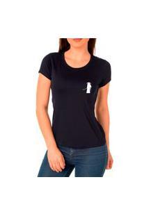 Camiseta Feminina Algodão Básica Samurai Confortável Casual Preto