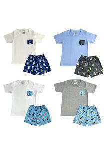 Kit 4 Pijama Infantil Curto Confortável Menino