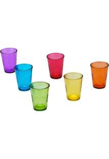 Conjunto Com 6 Copos Em Vidro Colorido Party 6100 Lyor Classic