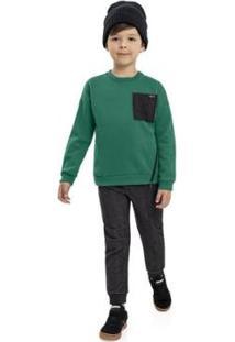 Casaco Infantil Quimby Moletom Masculino - Masculino-Verde