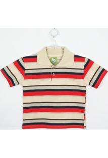 Camiseta Bebê Masculina Manga Curta Azul Royal, Amarela E Branca-P - Masculino-Bege