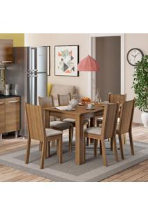 Conjunto De Mesa De Jantar Com 6 Cadeiras Maris Linho Rustic E Pérola