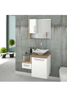 Gabinete Para Banheiro 1 Porta 1 Gaveta 1 Cuba Folha Lux E Espelheira Legno 630W Siena Móveis Branco C/Carvalho