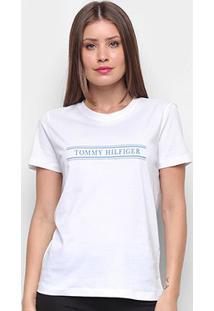 Camiseta Tommy Hilfiger Violet Regular Básica Feminina - Feminino-Branco