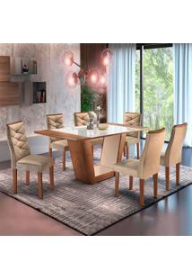 Conjunto De Mesa De Jantar Viggor Com 6 Cadeiras Rivieira Suede Chocolate E Bege