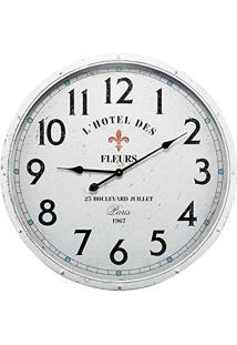 Relógio De Parede Hotel Des Fleurs Branco Em Metal - 68X6,5 Cm