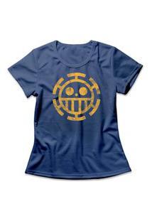 Camiseta Feminina One Piece Trafalgar Law Logo Azul