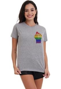 Camiseta Basica Joss Lgbt Raise Your Hands Mescla - Kanui