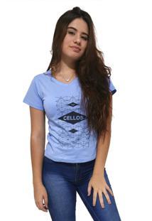 Camiseta Feminina Gola V Cellos Raspberry Premium Azul Claro - Kanui